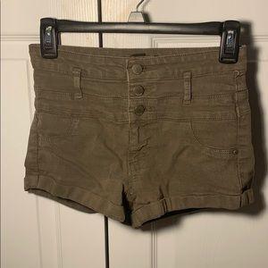 army green denim shorts